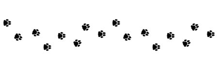 Flat linear design. Set of icons. Paw print foot trail. Dog, cat paw print isolated on a white background. Vector illustration.