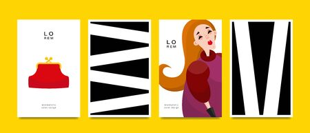 Set of greeting cards. Woman and geometric pattern. Applicable for magazine covers, outdoor prints, ads and prints in the beauty industry. Vector illustration.