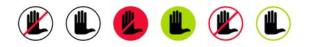 Information warning icon. Do not touch. You can touch. Isolated over white background. Vector illustration.