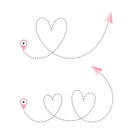Airplane is in a dotted line. Tourism and travel. The waypoint is for a tourist trip and his track on a white background. A romantic or honeymoon trip for lovers. Vector illustration.