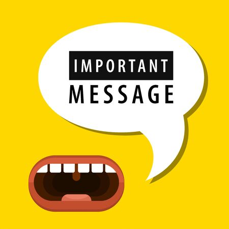 Human mouth with important message speech bubble. Loudspeaker. Banner for business, marketing and advertising. Vector illustration.