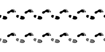 Flat linear design. The path of human footprints in shoes. Human footprints isolated on a white background. Vector illustration.