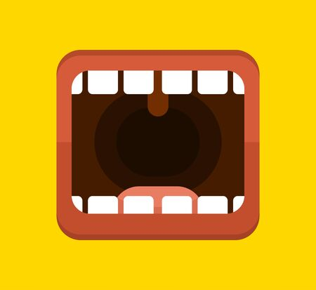 Banner with a big human mouth. Open mouth with tongue and teeth. Screaming or talking person. Vector illustration