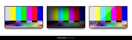 Realistic electronic device templates. Modern gadgets isolated on white background. Hanging TV with a test card of colored stripes with a shadow on the wall. No TV signal. Vector illustration.
