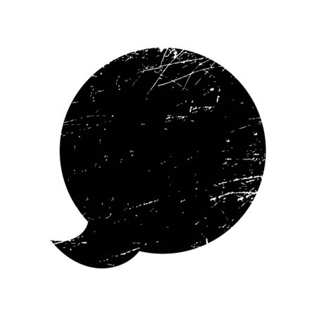 Speech bubble with scratched texture. Grunge object. Social Media icon. Vector illustration.