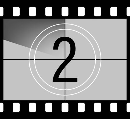 Movie countdown. Retro style television screen in the frame of a film with a number. Frame from the set. Vector illustration.