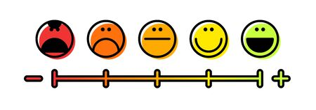 User experience. Evaluation of the service provided to the consumer using emoticons with different emotions. Vector illustration.. Isolated on white background. Vector illustration.