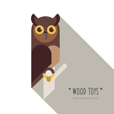 Flat linear design or emblem for manufacturers of wooden toys and products. Owl. Vector illustration