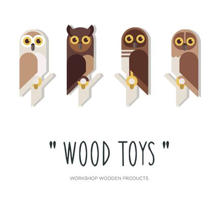 Flat linear design or emblem for manufacturers of wooden toys and products. Owls. Vector illustration Vectores