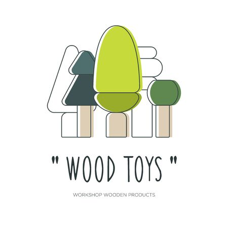 Flat linear design or emblem for manufacturers of wooden toys and products. Trees of different shapes. Vector illustration.