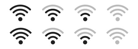 Wireless LAN icon.Internet connection. Signal transmission level. Isolated over white background. Vector illustration