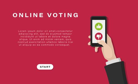 Business banner, background.  Mobile phone with voting symbols. Human hands are holding a phone on a red background. Online voting. Vector illustration.