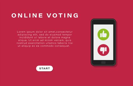 Business banner, background. Online voting. Mobile phone with voting symbols on a red background. Business space. Good and bad. Vector illustration. Stock Illustratie