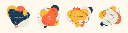 Vector set of abstract creative backgrounds in minimal trendy style with copy space for text. Vector illustration.
