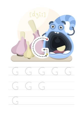 Learning to write a letter. A practical sheet from a set of exercises for the development and education of children. Writing a letter from the English alphabet. Vector illustration. Çizim