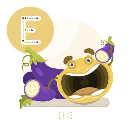 Learning the English alphabet. Funny cartoon character with eggplant and letter. The way to write a letter with transcription. Vector illustration