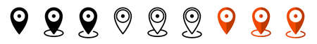 GPS location. Map pointer icon. Travel and tourism. Isolated over white background. Vector illustration  イラスト・ベクター素材