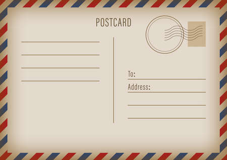 Postal travel card art design. Blank airmail mockup template. Abstract concept graphic element. Vector illustration.