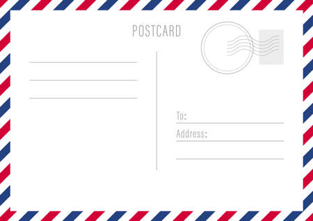 Postal travel card art design. Blank airmail mockup template. Abstract concept graphic element. Vector illustration. Vector Illustration