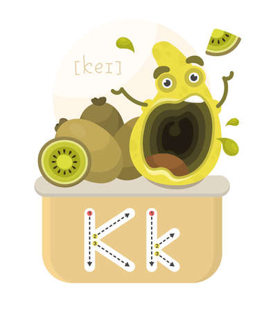 Learning the English alphabet. Funny cartoon character with kiwi and letter. The way to write a letter with transcription.
