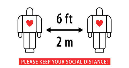 Social Distancing 2 meter and 6 Feet pictogram. People keeping distance. Distance sign protection. Vector Illustratie