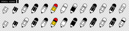 Pencil icon set. Edit symbol. Different style pen icons set. Flat and line style on white isolated background. Pencil and easter. Vector illustration.