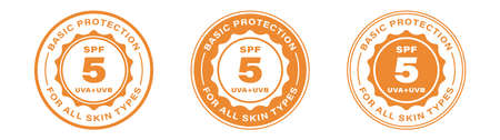 SPF 5 sun protection, UVA and UVB vector icons. SPF 5 basic UV protection skin lotion and cream package label. Information label. Vector illustration.