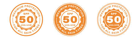 SPF 50 sun protection, UVA and UVB vector icons. SPF 50 maximum UV protection skin lotion and cream package label. Information label. Vector illustration.