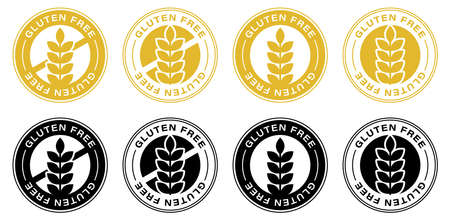 Gluten free label icons set. No wheat symbols templates design for gluten free food package or dietetic product nutrition sign. Ilustração