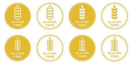 Gluten free label icons set. No wheat symbols templates design for gluten free food package or dietetic product nutrition sign. Information label. Vector illustration.