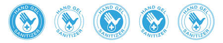 Hand gel sanitizer vector label with water drop, shield and hand logo. Hand sanitizer icon for healthy safe product package tag. Information label. Vector illustration.