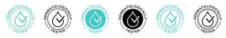 Dermatologically tested vector label with water drop and hand logo. Dermatology test, dermatologist clinically proven icon for allergy free and healthy safe product package tag. Vector.