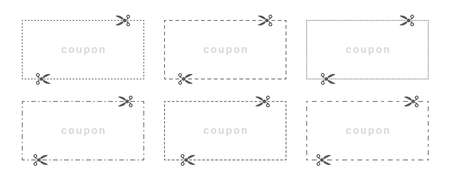 Coupon cut template. Dotted line with scissors. Vector illustration Çizim