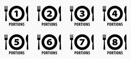 Pack of vector food icons. Plate with fork, knife and recommended servings. Vector illustration Çizim