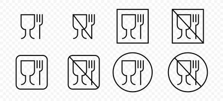 Food grade vector icons set. Food safe material wine glass and fork symbols. Vector illustration.