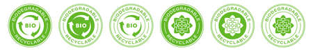 Biodegradable recyclable vector icon. Bio recyclable and degradable package packet logo. Information label. Vector illustration.