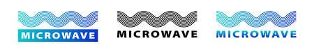 Flat linear design. Microwave logo. Vector illustration Çizim