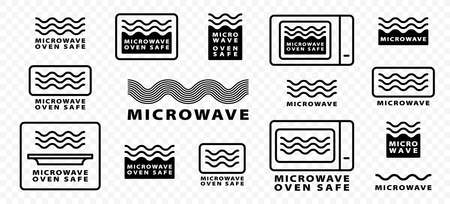 Microwave oven safe icon templates set. Vector isolated line symbols or labels for plastic dish food cookware suitable for safe warming and cooking in microwave oven. Illusztráció