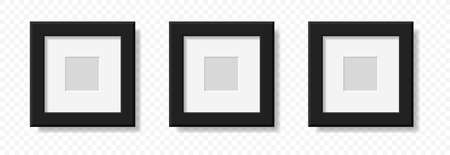 Mockup realistic square picture or photo frame black color isolated on transparent background for your design. Vector illustration.
