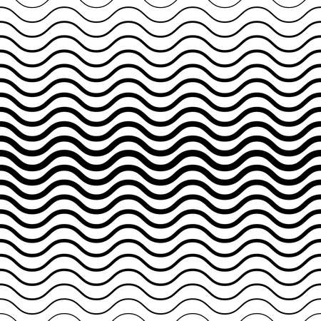 Seamless wavy texture. Background with black lines. Transition of waves of different thickness. Vector illustration