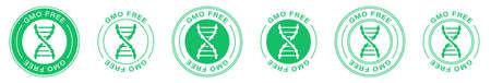GMO free icon. Vector green non GMO DNA label. Information label. Vector illustration.