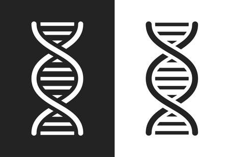 Gray and white DNA helix icon isolated on background. Vector illustration