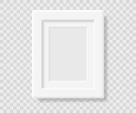 Mockup realistic rectangular picture or photo frame black color isolated on transparent background for your design. Format A 4. Vector illustration. EPS10 Illusztráció