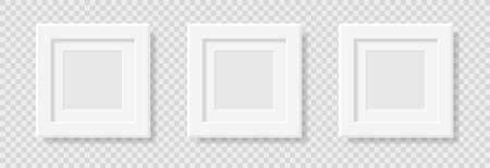 Mockup realistic square picture or photo frame black color isolated on transparent background for your design. Vector illustration. EPS10