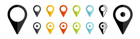 GPS location. Map pointer icon. Travel and tourism. Isolated over white background. Vector illustration Illusztráció