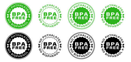 BPA free vector certificate icon. No phthalates and no bisphenol, safe food package stamp, check mark and green leaf. Information label. Vector illustration. Illusztráció