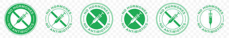No antibiotics food label stamp, hormones free farm grown chicken and beef or pork meat vector logo. Natural healthy antibiotics free products certificate seal. Information label. Vector.