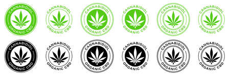 Canabis leaf vector icon. Produced 100 percent organic cannabis or hemp cosmetics and natural pharmaceutical stamp logo. Information label. Vector illustration.