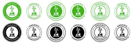 Green mark for product labeling - organic ingredients. Information label. Vector illustration. Çizim