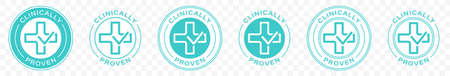Clinically proven marking or sticker - pharmaceutical medical tested product - vector icon. Information label. Vector illustration. Illusztráció